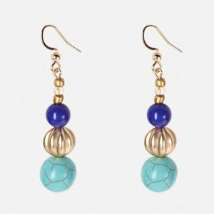 New Turquoise Blue and Gold Beaded Earrings